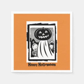 Retro Halloween Pumpkin Ghost and Kids Orange Disposable Napkin