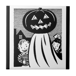 Retro Halloween Pumpkin Ghost and Kids Tile