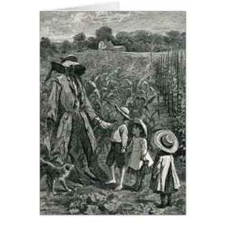 Retro Halloween Scarecrow and Children Card