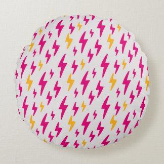 Retro Hand Drawn Lightning Pattern Round Pillow