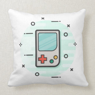 Retro Handheld Games Console w/ Starship BG Throw Pillow