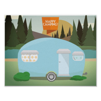 Retro Happy Camping, Vintage Camper Poster