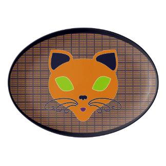 Retro Happy Halloween Cat Platter