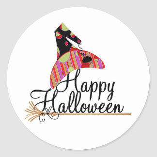 Retro Happy Halloween Classic Round Sticker