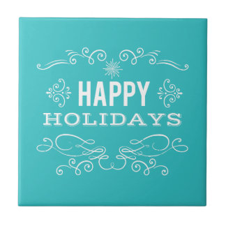 Retro Happy Holidays Ceramic Tile
