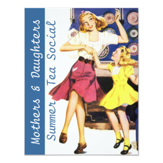 Retro Happy Mothers & Daughters Social Invitations