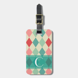 Retro Harlequin Geometric Monogram Luggage Tag