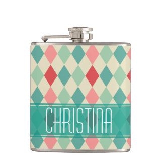 Retro Harlequin Geometric Pattern Personalized Flasks