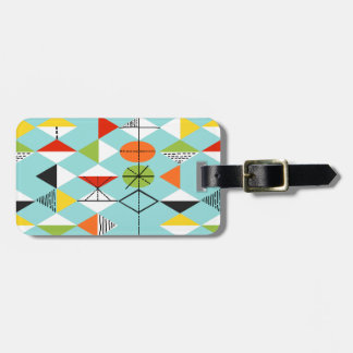 Retro Harlequin Pattern Luggage Tag