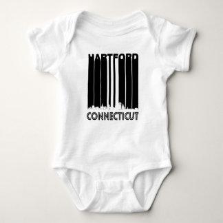 Retro Hartford Connecticut Skyline Baby Bodysuit