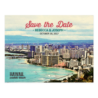 Retro Hawaii Waikiki Beach Photo Save the Date Postcard