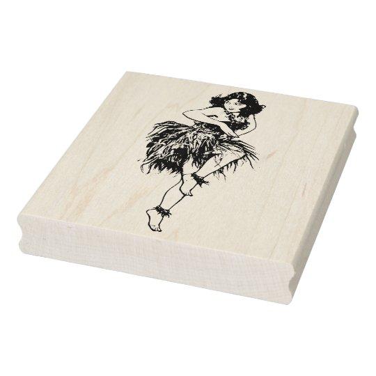 Retro Hawaiian Dancer Rubber Art Stamp