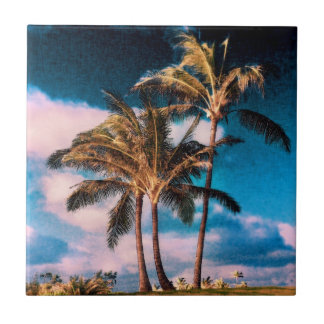 Retro Hawaiian Palm Trees Customized Palms Tile