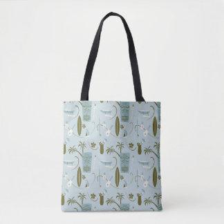 Retro Hawaiian Tote Bag - Vintage Hawaiian - Blue