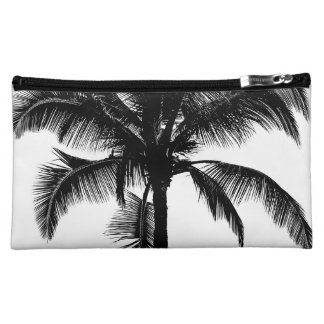 Retro Hawaiian Tropical Palm Tree Silhouette Black Cosmetic Bag