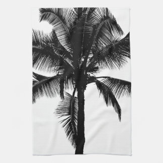 Retro Hawaiian Tropical Palm Tree Silhouette Black Kitchen Towel