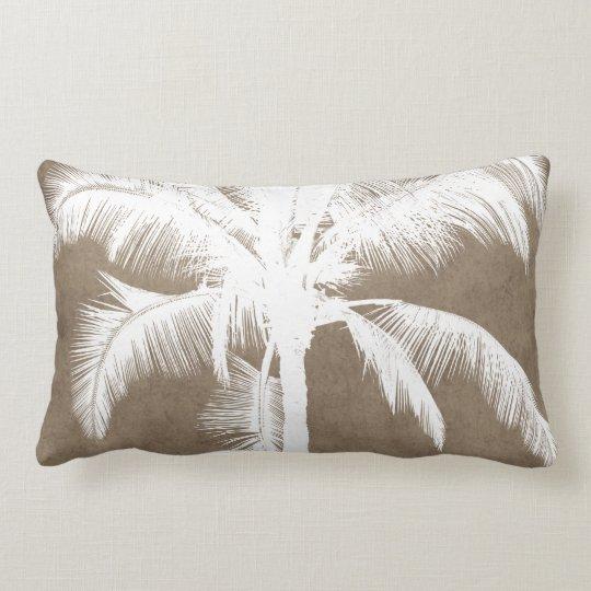 Retro Hawaiian Tropical Palm Tree Silhouette White Lumbar Pillow