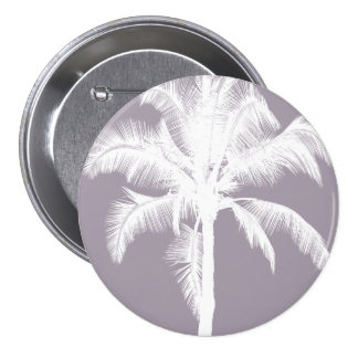 Retro Hawaiian Tropical Palm Tree Vintage Purple 3 Inch Round Button