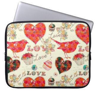 Retro Hearts Birds & Valentine's Day Elements Laptop Sleeve