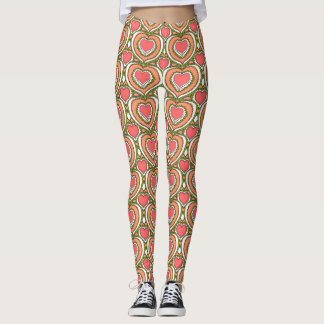 Retro hearts printed leggings