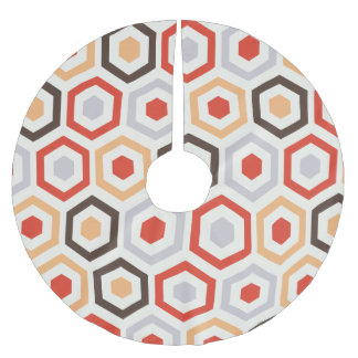 Retro hexagons brushed polyester tree skirt