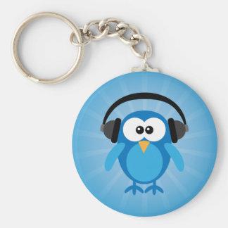 Rétro hibou bleu génial avec des écouteurs porte-clé rond