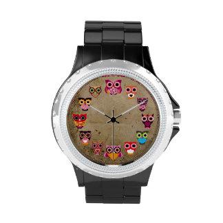 Rétro hibou coloré montres