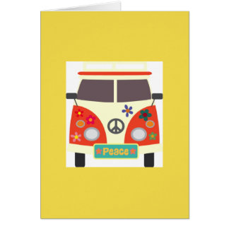 Retro Hippie Bus Greeting Card