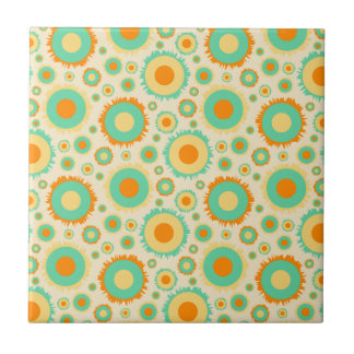Retro Hippie Dots In Orange, Green, & Tan Tile