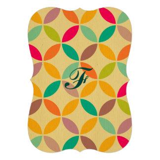 Rétro hippie multi génial de motif de couleur des carton d'invitation  12,7 cm x 17,78 cm