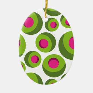 Retro hippie pattern with colored dots ceramic oval ornament