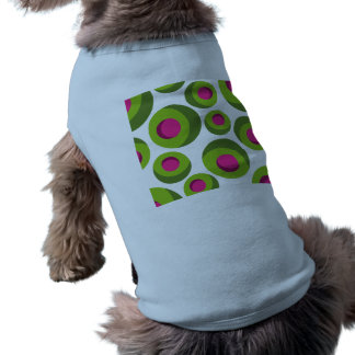 Retro hippie pattern with colored dots dog t shirt