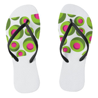 Retro hippie pattern with colored dots flip flops