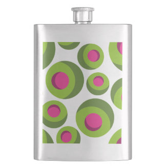 Retro hippie pattern with colored dots hip flask