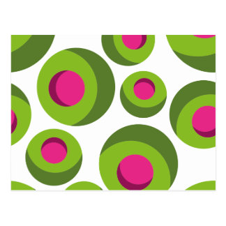 Retro hippie pattern with colored dots postcard