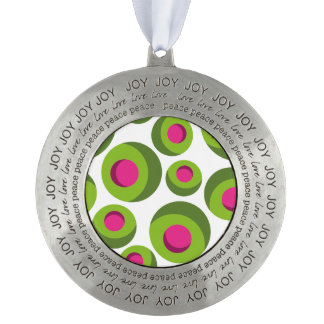 Retro hippie pattern with colored dots round pewter ornament