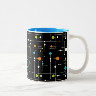 Retro Hipster Black Space Age Atomic 11 oz Two-Tone Coffee Mug