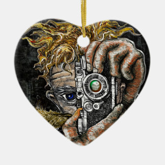 Retro Hipster Selfie Ceramic Heart Ornament