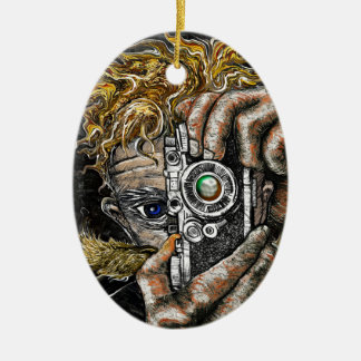 Retro Hipster Selfie Ceramic Oval Ornament