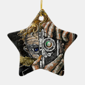 Retro Hipster Selfie Ceramic Star Ornament