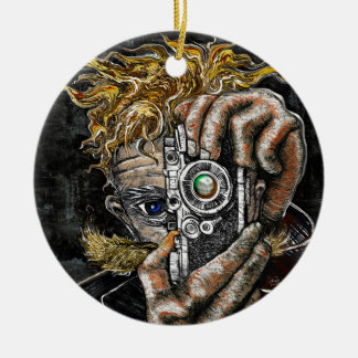 Retro Hipster Selfie Round Ceramic Ornament