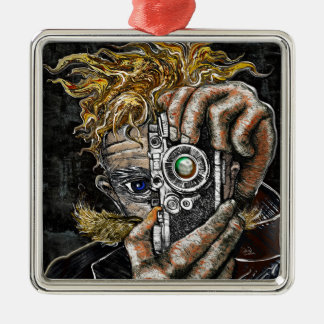 Retro Hipster Selfie Silver-Colored Square Ornament