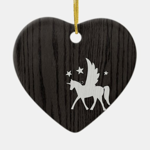 Retro Hipster Unicorn On Woodgrain Christmas Tree Ornament