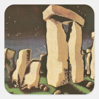 Rétro histoire vintage 'Stonehenge de Sci fi Stickers Carrés