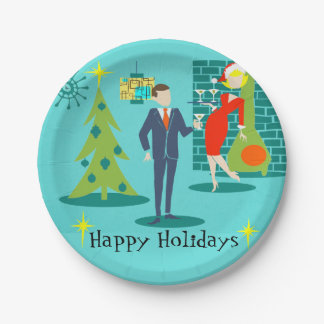 Retro Holiday Cartoon Couple Paper Plates