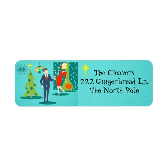 Retro Holiday Cartoon Couple Return Address Labels