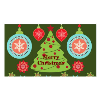 Retro Holiday Merry Christmas Tree Snowflakes Business Card Template