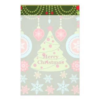 Retro Holiday Merry Christmas Tree Snowflakes Stationery Paper
