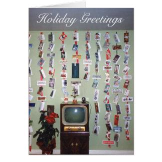 Retro Holiday Television, Christmas Greetings Card