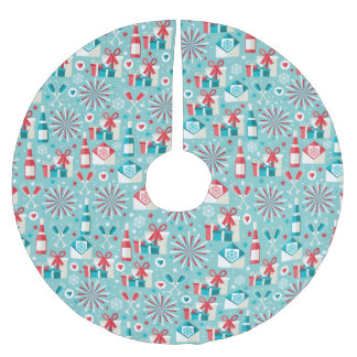Retro Holiday Tree Skirt, Brushed Polyester Brushed Polyester Tree Skirt